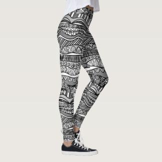 Legging Ethno modelou caneleiras branco preto/cinzento
