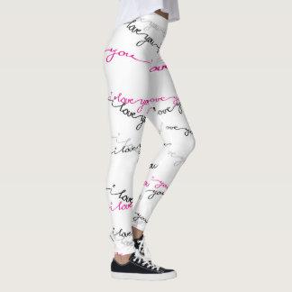 Legging Eu te amo - Roteiro-Cor-de-rosa & preto