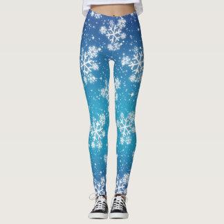 Legging Flocos de neve & estrelas no inclinação azul