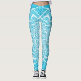 Legging Flor azul de Chakra, boho, idade nova, espiritual