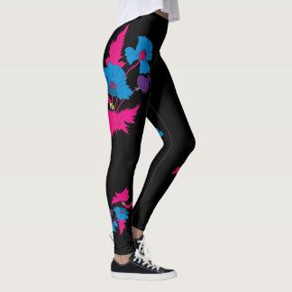 Legging Flor colorida abstrata da papoila do vetor