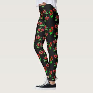 Legging Flor colorida da papoila do vetor