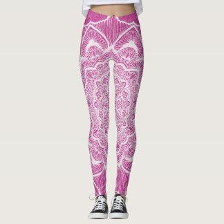 Legging Flor cor-de-rosa de Chakra, boho, idade nova,