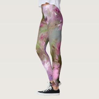 Legging Flor cor-de-rosa impressionista de Crabapple