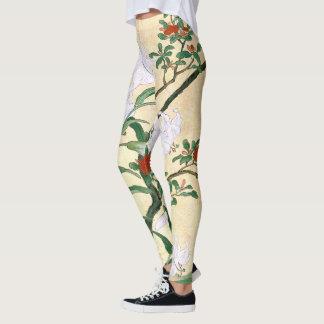Legging Flores asiáticas do lírio branco por todo o lado
