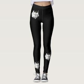Legging Flores Caneleira-Mulher-Brancas da forma/preto