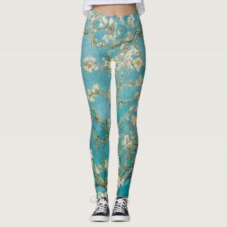 Legging Flores da amêndoa de Van Gogh/Purple/St. Remy