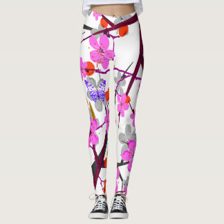 Legging Flores do vetor e borboletas abstratas do colourd
