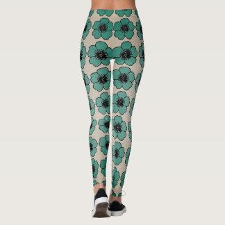 Legging Flower-Me-Green_Cream-Floral_LEGGING'S_XS-XL