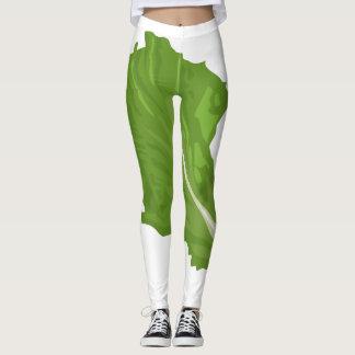 Legging Folha do verde da comida do pulso aleatório