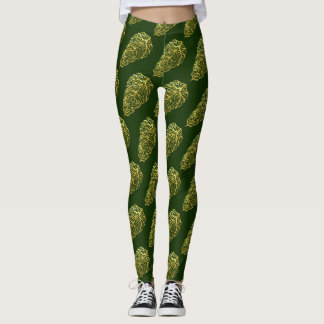 Legging FOLHAS ESQUELETAIS do VERDE por Slipperywindow