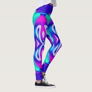 Legging Forme o Caneleira-Aqua/rosa/azul/branco do