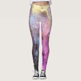 Legging Galáxia - arte abstrata da tinta por Karen Ruane