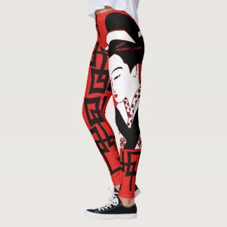Legging gráfico vermelho branco do preto japonês da menina