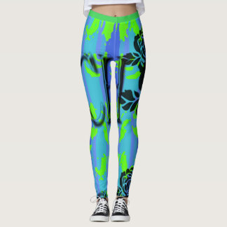 LEGGING GREEN-BLUE-SURFER-BEACH-PATCH-LEGGING'S_XS-XL