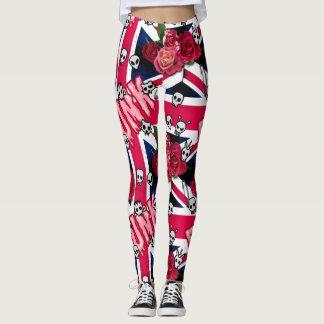 Legging Grunge cor-de-rosa Union Jack do punk com Emojis e