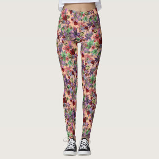 Legging Grunge floral (pêssego)