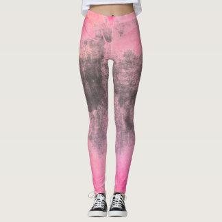 Legging Ikat pastel do rosa quente do ikat preto da