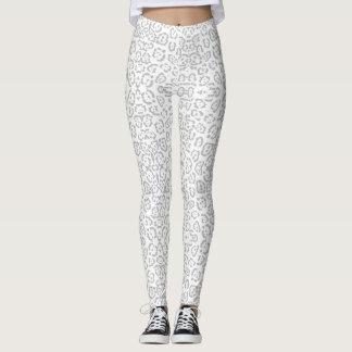 Legging Impressão animal cinzento do gato de leopardo da