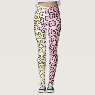 Legging Impressão animal do gato rosa pálido do pop art da