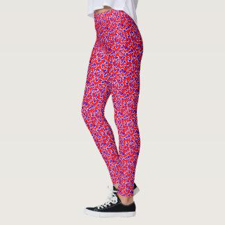 Legging Impressão branco e azul vermelho do leopardo