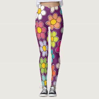 Legging Impressão floral roxo