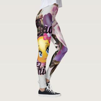 Legging Impressão mau das caneleiras w/Flower do pintinho