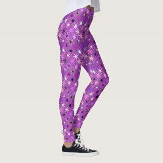 Legging Impressão moderno de Starburst, roxo violeta e