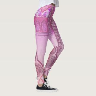 Legging Impressionante em caneleiras cor-de-rosa