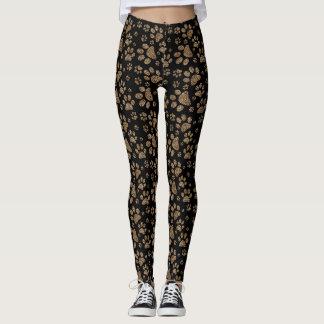 Legging Impressões da pata do ponto do leopardo