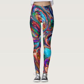 Legging Ioga colorida das caneleiras do Fractal do