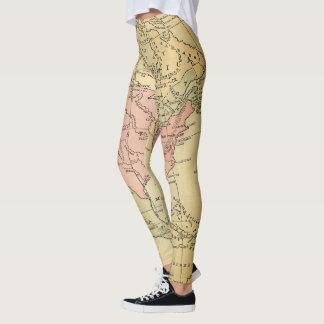 Legging Ioga das caneleiras do mapa dos EUA do vintage