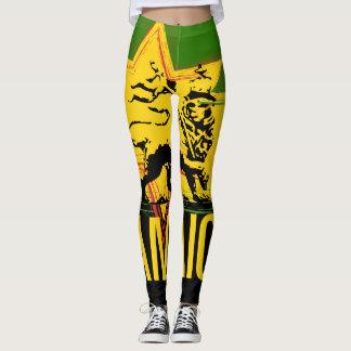 Legging Leão jamaicano das caneleiras do design de Judah