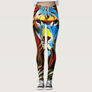 Legging Leão selvagem colorido da pintura de óleo de Judah