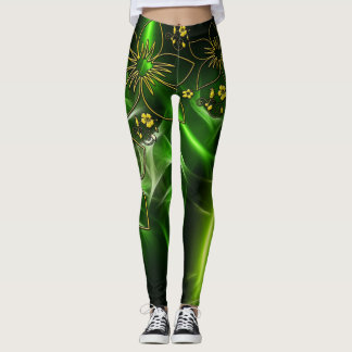 Legging Leggins metálicos do ouro verde