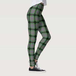 Legging Leggins quadrados abstratos do cinza e do verde