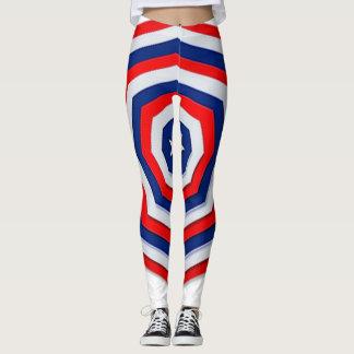 Legging Leggins vermelhos, brancos e azuis da Web