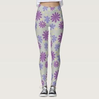 Legging Lilac groovy e roxo das flores da modificação no