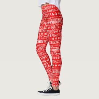 Legging Línguas diferentes do Feliz Natal vermelhas &