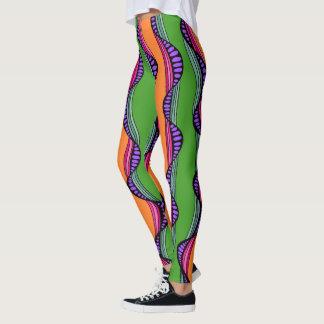 Legging Linhas onduladas coloridas caneleiras