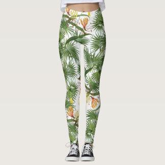 Legging Lírio tropical das palmas floral por todo o lado