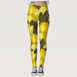 Legging Listra amarela ondulada dos grandes Daffodils
