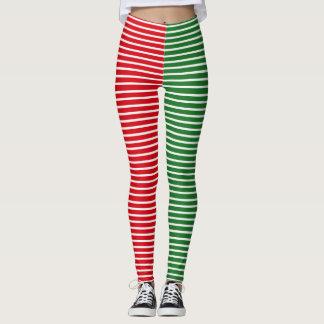 Legging Listrado vermelho e verde do duende do Natal