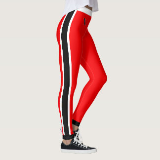 Legging Listras brancas e pretas no vermelho