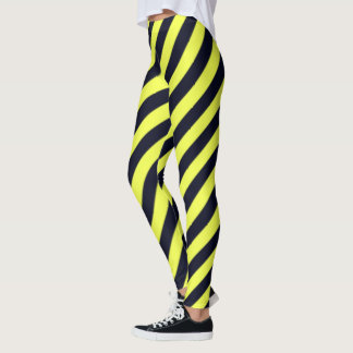 Legging Listras diagonais pretas e amarelas