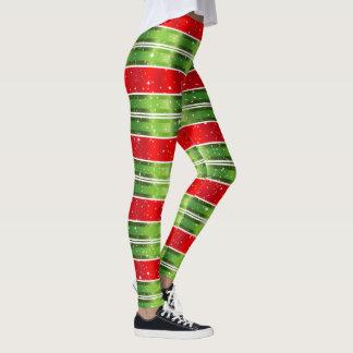 Legging Listras horizontais brancas verdes vermelhas