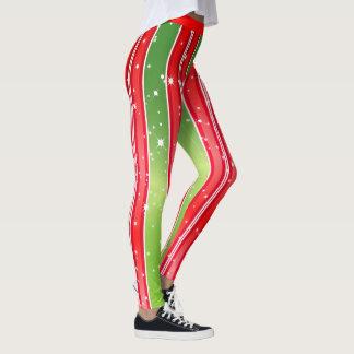 Legging Listras verticais brancas verdes vermelhas nevado