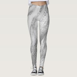 Legging Lux metálico abstrato mínimo de mármore das cinzas
