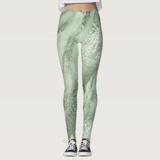 Legging Lux metálico abstrato mínimo de mármore do verde
