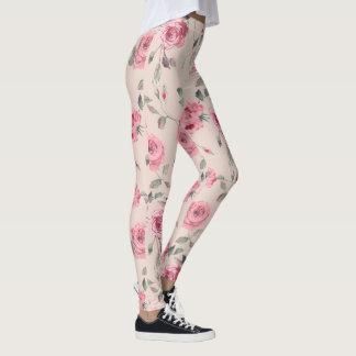 Legging Luz - caneleiras cor-de-rosa do impressão floral
